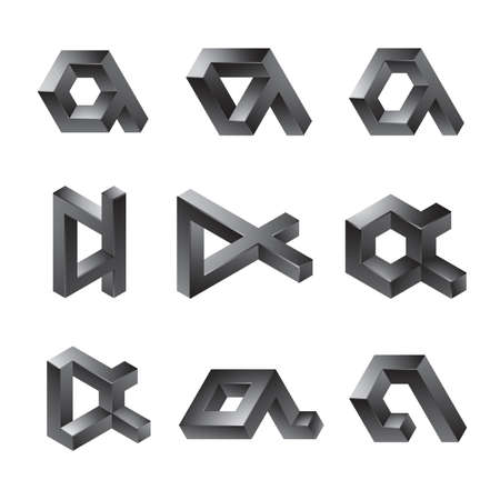 alpha: Set of 3D abstract shapes - lowercase letter a