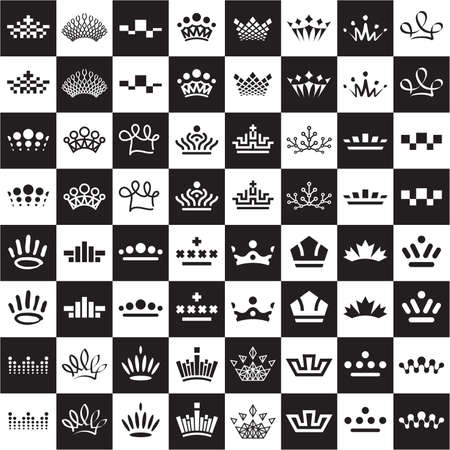Set of abstract crown icon designs