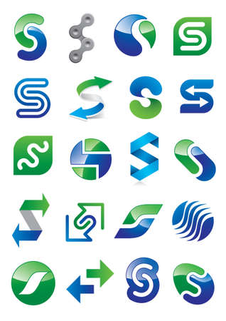 Abstract Letter S - Different Icon Design Set Stock Vector - 16674771
