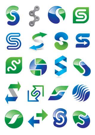 letra s: Carta abstracta S - conjunto diferente dise�o Icono