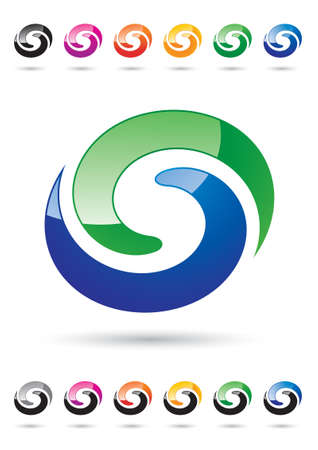 revolving: Abstract Letter S - Colored Icon Design Set