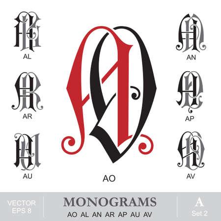 capitel: Vintage monogramas AO AL AN AR AP AU AV Vectores
