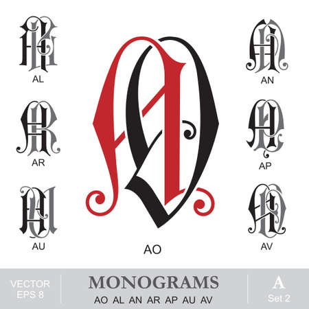 name: Vintage Monograms AO AL AN AR AP AU AV Illustration