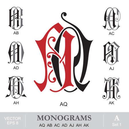 Vintage Monograms AQ AB AC AD AJ AH AK Vector