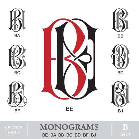capitel: Monogramas del vintage BE BA BB BC BD BF BJ Vectores