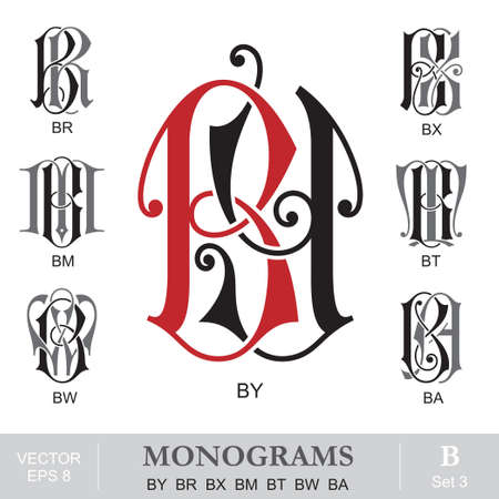 Vintage Monograms BY BR BX BM BT BW BA Vector