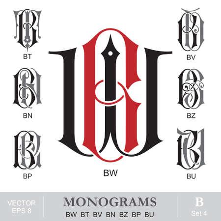 bn: Vintage monogramas BW BT BV BN BZ BP BU Vectores