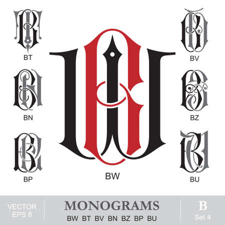 letter w: Vintage Monograms BW BT BV BN BZ BP BU Illustration