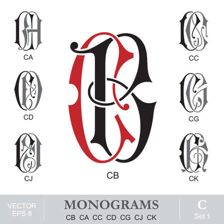 Vintage Monograms CB CA CC CD CG CJ CK Vector