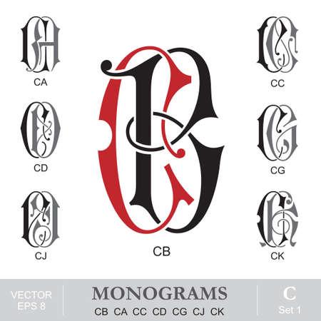 initials: Vintage Monograms CB CA CC CD CG CJ CK