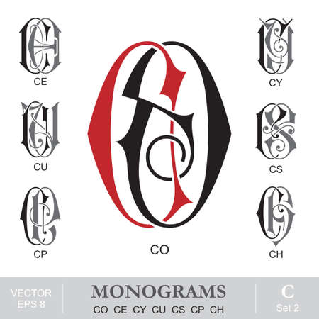 Vintage Monograms CO CE CY CU CS CP CH Vector