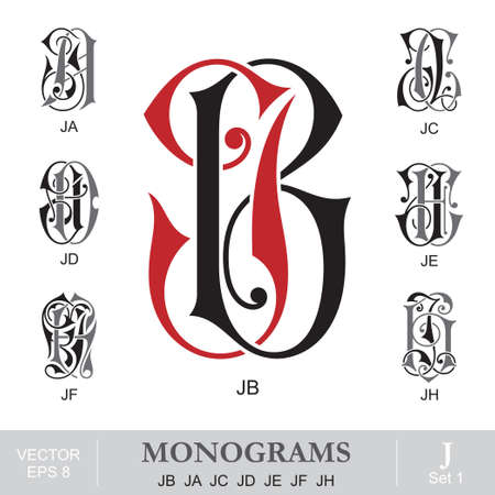 personal identity: Vintage monogramas JB JA JC JD JE JF JH Vectores