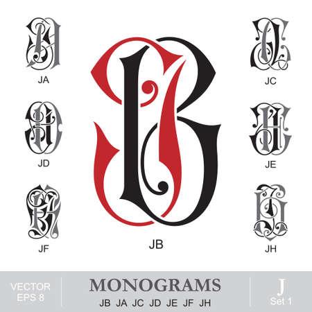 initials: Vintage Monograms JB JA JC JD JE JF JH