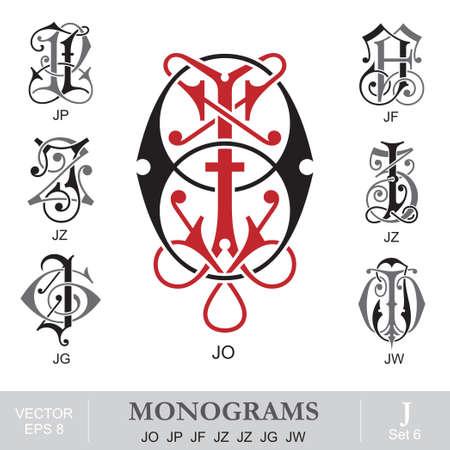 Vintage Monograms JO JP JF JZ JZ JG JW Ilustração