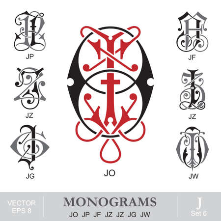 initials: Vintage Monograms JO JP JF JZ JZ JG JW Illustration