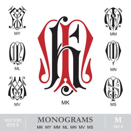 vintage: Vintage monogrammen MK MIJN MM ML MN MV MS