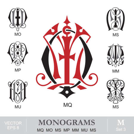 letter q: Vintage Monograms MQ MO MS MP MM MU MS Illustration