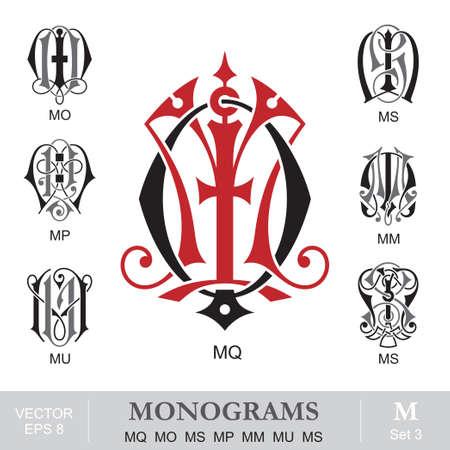 initials: Vintage Monograms MQ MO MS MP MM MU MS Illustration