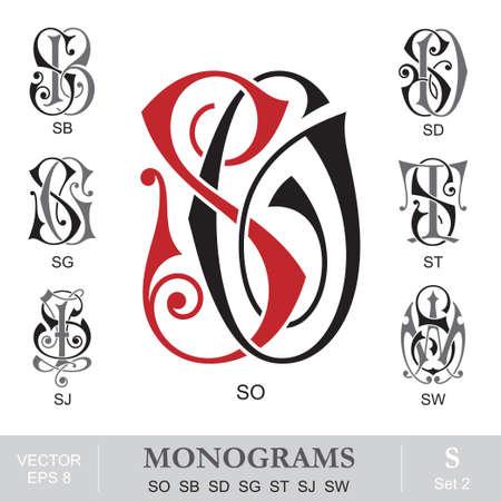 initials: Vintage Monograms SO SB SD SG ST SJ SW Illustration