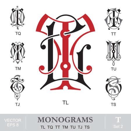capitel: Vintage monogramas TL TQ TT TM TU TJ TS Vectores