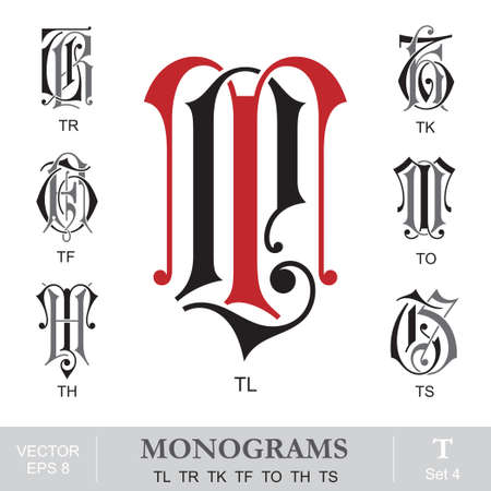 ヴィンテージは、モノグラム TL TR TK TH TS に TF 写真素材 - 21577023