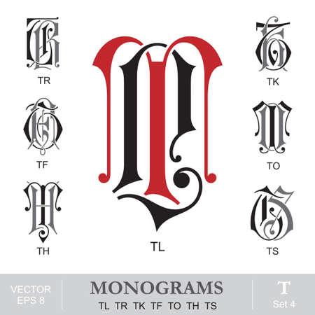 initials: Vintage Monograms TL TR TK TF TO TH TS