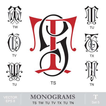 capitel: Vintage monogramas TS TW TU TV TX TU TN