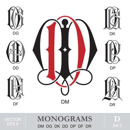 Vintage Monograms DM DG DK DD DP DF DR Illustration