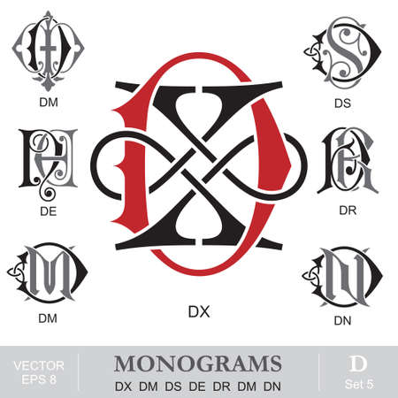 Vintage Monograms DX DM DS DE DR DM DN Vector