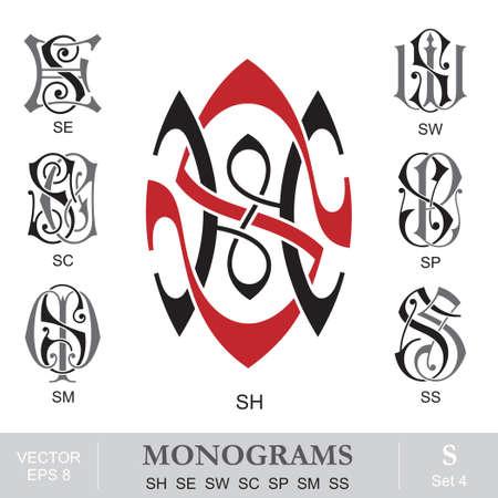 Vintage Monograms SH SE SW SC SP SM SS