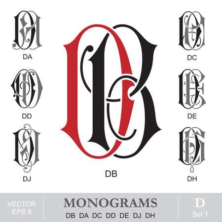 initials: Vintage Monograms DB DA DC DD DE DJ DH