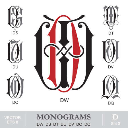 letter q: Vintage Monograms DW DS DT DU DV DO DQ