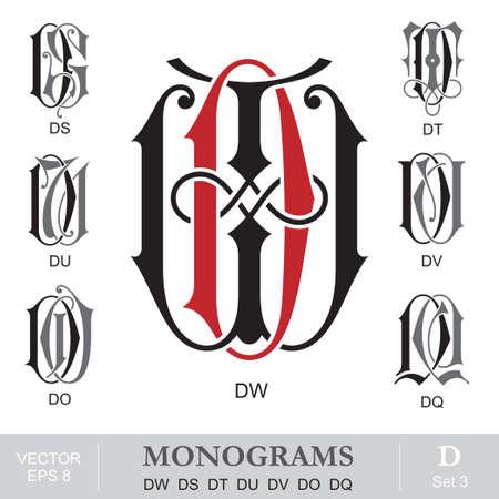 initials: Vintage Monograms DW DS DT DU DV DO DQ