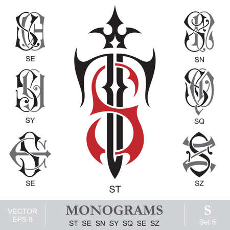 gothic style: Vintage Monograms ST SE SN SY SQ SE SZ
