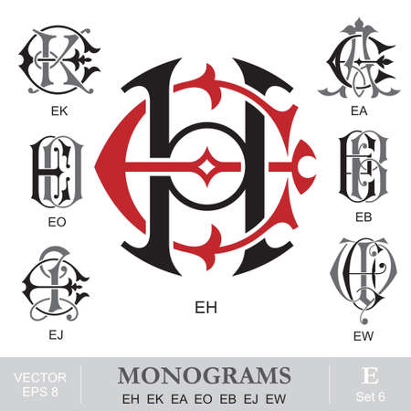 Vintage Monograms EH EK EA EO EB EJ EW Illustration