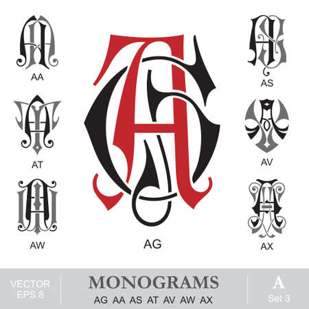 Vintage Monograms AG AA AS AT AV AW AX can also be GA TA VA WA XA Vector