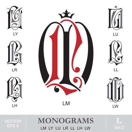 ヴィンテージは、モノグラム LM LY LU LR LL LH LW 写真素材 - 31825352