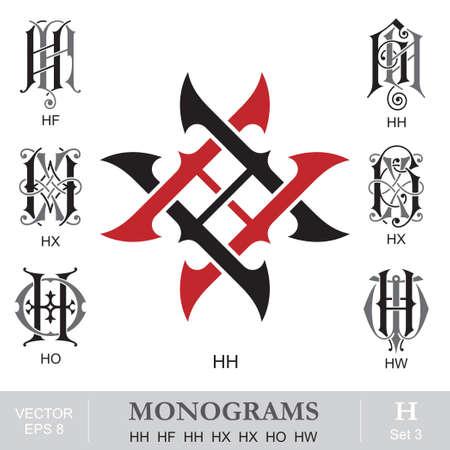ビンテージは、モノグラム HH HF HH HX HX HO HW 写真素材 - 31825361