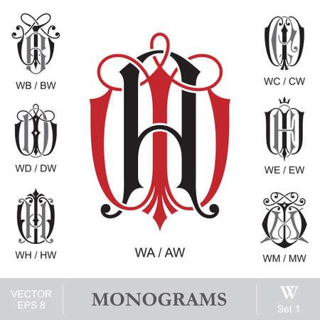 ビンテージ モノグラム WA WB WC WD 我々 WH WM も AW BW CW DW EW HW MW をすることができます。 写真素材 - 31825370