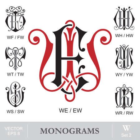 Vintage Monograms WE WF WH WT WY WS WR can also be EW FW HW TW YW SW RW