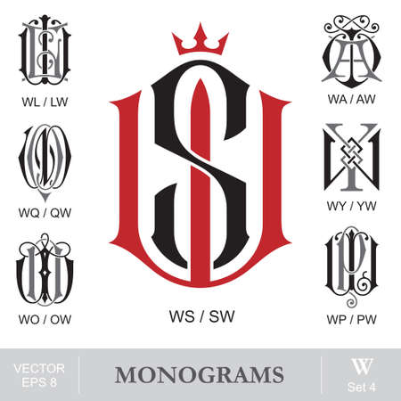 Vintage Monograms WS WL WA WQ WY WO WP can also be SW LW AW QW YW OW PW  イラスト・ベクター素材