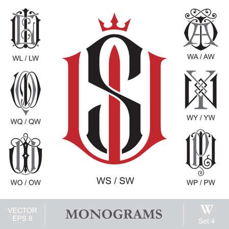 Vintage Monograms WS WL WA WQ WY WO WP can also be SW LW AW QW YW OW PW Ilustração