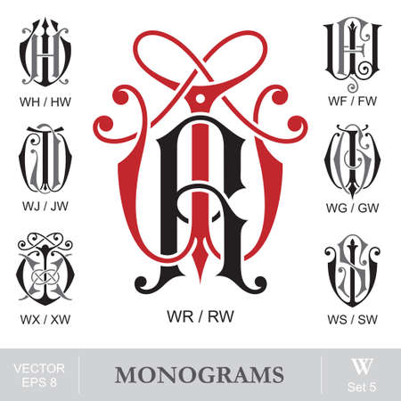 Vintage Monograms WR WH WF WJ WG WX WS can also be RW HW FW JW GW XW SW Illustration
