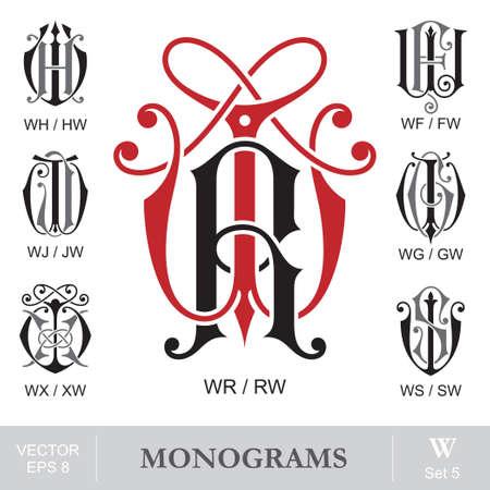 Vintage Monograms WR WH WF WJ WG WX WS can also be RW HW FW JW GW XW SW Ilustração