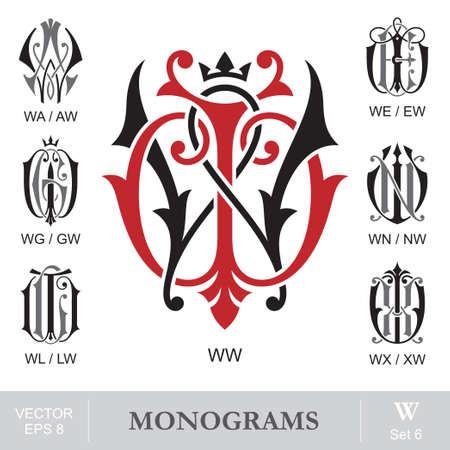 ビンテージ モノグラム WW WA 我々 WG WN WL WX AW EW GW NW LW XW をまたすることができます。 写真素材 - 31825406