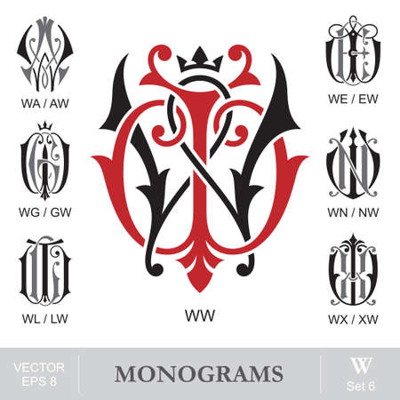 Vintage Monograms WW WA WE WG WN WL WX can also be AW EW GW NW LW XW