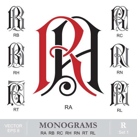 rt: Vintage Monograms RA RB RC RH RN RT RL Illustration