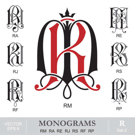 old letters: Vintage Monograms RM RA RE RJ RS RF RP