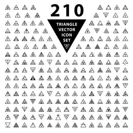 Set of 210 thin stylish icons. Trendy black linear triangle shape logo design elements.