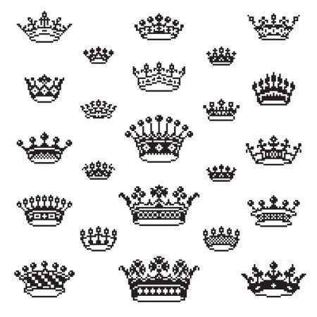 Crown icon vector design template set